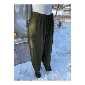 Vintage Hunter Green Casual Pant Scrunchie Rippled